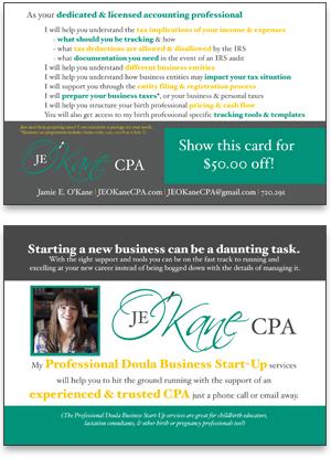 Rack Card Design for JE O'Kane CPA