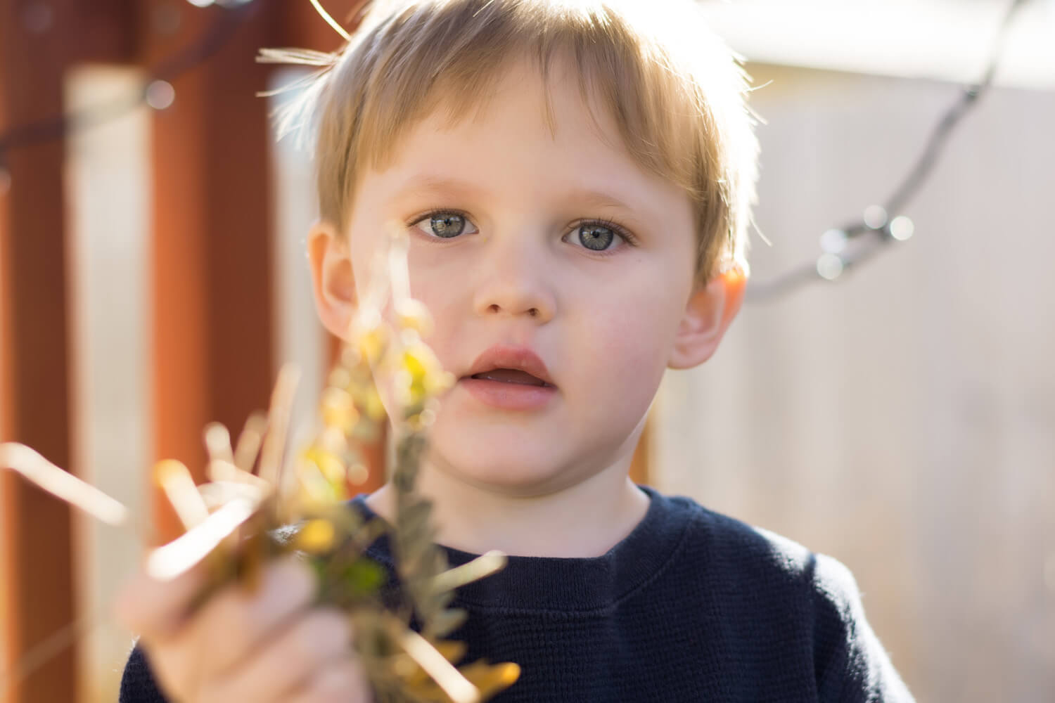Portrait of a young child holding leaves in their hand